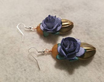 Blue Paper Flowers Dangle Drop Earrings - The Bloom Collection