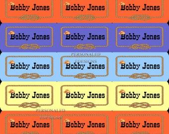 Western Name Sticker Labels, Waterproof Name Labels, Pastel Color Stickers, Custom Labels, Western Theme Name Labels, Kids Name Labels