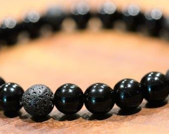 Black Jasper & Lava Stone Stretch Bracelet - Stability