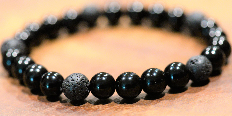 Black Jasper & Lava Stone Stretch Bracelet