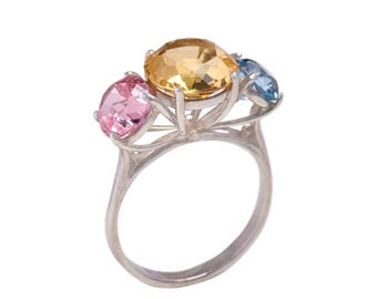 Stunning handcrafted sterling silver 925 ring with Rose Quartz, Citrine and Aquamarine