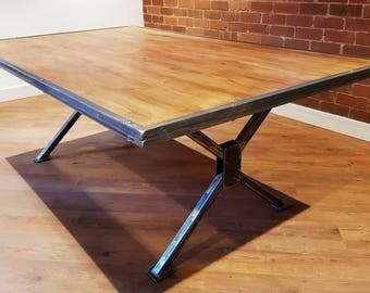 Vintage Industrial Style X Frame Dinning Table. Rustic Reclaimed. Office  Desk, Bar,