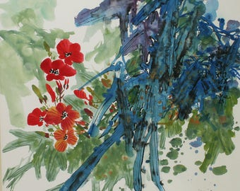 Chinese painting flowers and leaves