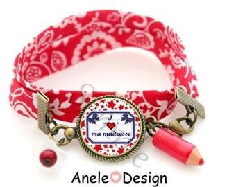 Liberty bracelet gift for the teacher - red blue stars school