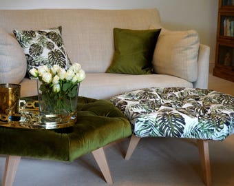 Olive Green Hexagonal Footstool