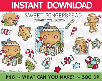 Sweet Gingerbread Clipart Collection    COMMERCIAL Use    Instant Download    Scrapbooking    Christmas Graphics