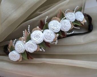 Girl Women Handmade Headband Hair Accessory Gift Idea Romantic Style Unique Felt Roses