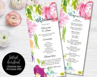 Wedding Day Program Template, Printable Wedding Program, Wedding Order of Service Text Editable PDF, Watercolor Floral Border 6 PROG-6