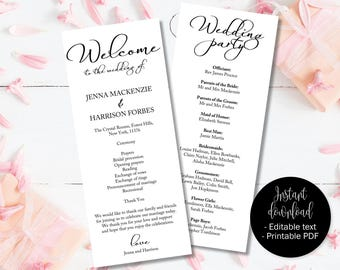 Wedding Day Program Template Booklet, Wedding Ceremony Order of Service Program, Wedding Ceremony Service Order Program Template Printable