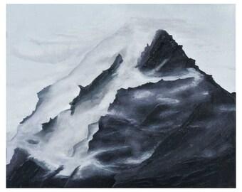 Original Foggy Mountain Acrylic Painting