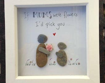 Mum framed pebble picture, personalised, handmade gift.