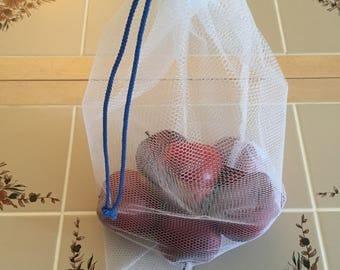 3 Double Layer Reusable Nylon Drawstring Produce Bags