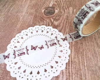 Enjoy the simple Life - Butterfly - Washi Tape - Single Roll Set - 15mm x 5metres - Adhesive Tape