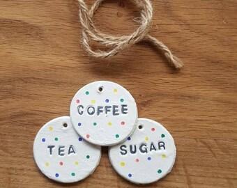 Handmade Clay Tags Kitchen Tea Coffee Sugar Pasta Honey Treats Personalised Heart Love