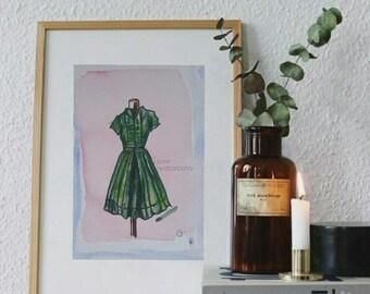 Original Watercolor Green dress