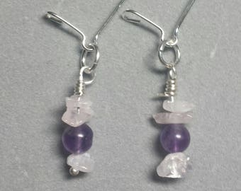 Amythyst and Rose Quartz earring