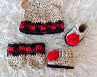 Crochet Bear Hat - Crochet Plaid Hat - Crochet Plaid Bear Hat - Crochet Pom Pom Booties - Pom Pom Booties, Crochet plaid mitts - Pom Poms