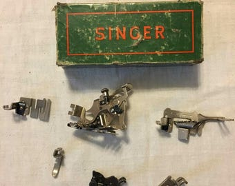 Vintage Singer Sewing Machine accessories with box