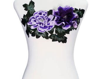 1piece 3D Big Purple Peony Lace Embroidery Applique Pacthes Lace Fabric Patches Clothes Decorated Sewing Accessories T2280