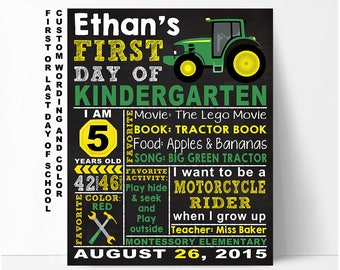 Tractor First day of school sign, first day of school chalkboard sign, first day of preschool sign, first day of kindergarten, printable