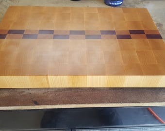 End Grain Maple Cherry and Purpleheart Cutting Board