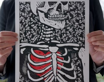 Skeleton with a big heart - Woodcut print