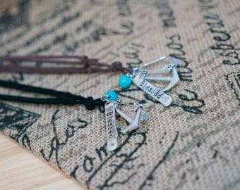 Leather Cord Necklace with Anchor and Blessed Charm and Turquoise Bead Accent With Acrylic Crystal