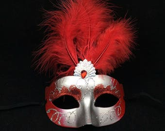 Red and Silver Masquerade Mask