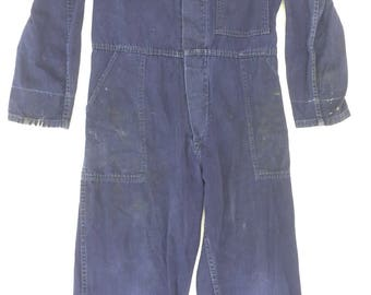 Amazing 1940s Indigo Blue Coveralls by 'Harrods'