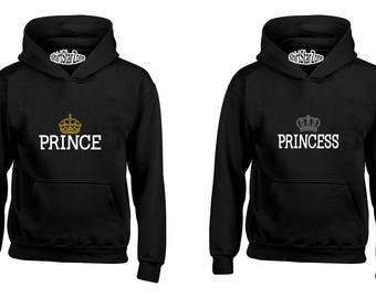 Couple Hoodies Prince & Princess Crown Couples Cute Matching Love Couples Valentine's Day Gift