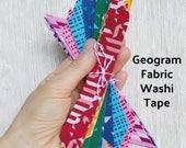 20 Fabric Washi Strips, Geogram Lecien Fabric, Scrapbook, Planner, Rainbow
