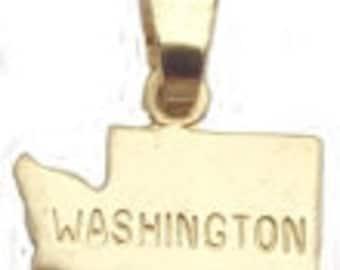 6 Washington  State Pendants Tiny Brass