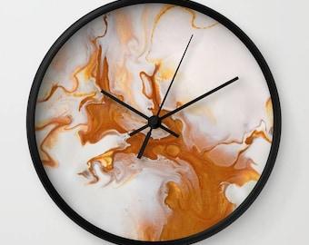 Wall Clock, Original Art Print Clock, Interior - Gold Marble. Custom Order, Pre Order