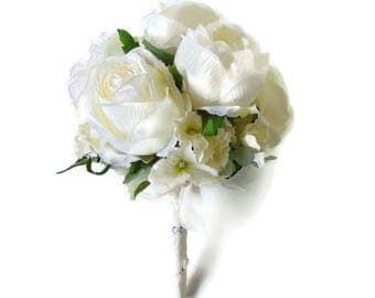 Cream Rose Posy Wedding Bouquet, brides bouquet, realistic bouquet, bridal bouquet, bridesmaids posy, silk bouquet