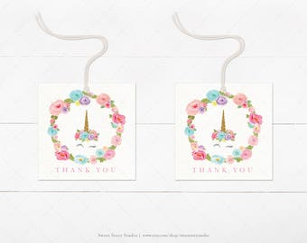 INSTANT DOWNLOAD / Dreaming Unicorn Favor Tag - Printable Digital File - Hang Tags, Thank You Tag, Gift Tags - Magical Birthday | DC002