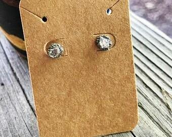Herkimer Diamond Earrings, Petite Herkimer Diamond Studs, Herkimer Earrings,  Diamond Earrings, April birthstone earrings