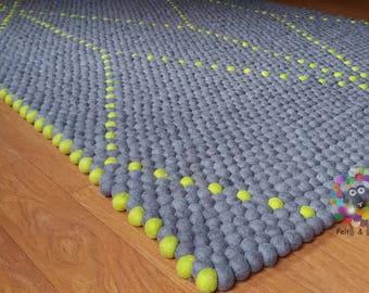 Rectangle Felt Ball Rugs / Symmetric Pattern.   100 % Wool Carpet (Free Shipping)