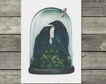 Raven Print, Taxidermy Art, Gothic Decor, Crow Painting, Cloche Print, Raven Wall Art, Crow Print
