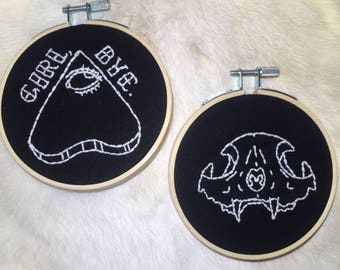 Black and White embroidery hoop set