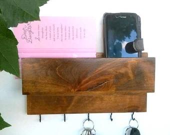 Wood shelf with hooks, key organizer, mail holder, wood shelf, entryway decor, decorative shelf, excellent practical gift idea