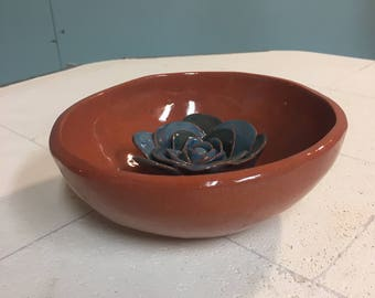 Ceramic Bowl with Blue Rose