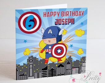 Captain America Superhero Marvel Personalised birthday card