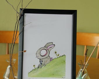 Rabbit can't fly a kite // illustration // A4 art print