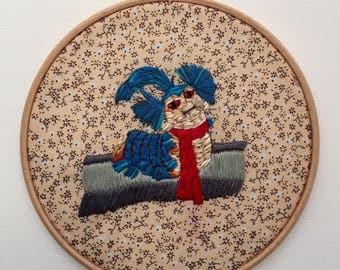 Ello Worm embroidery hoop art, Labyrinth embroidery hoop art, embroidery, 80s movie embroidery