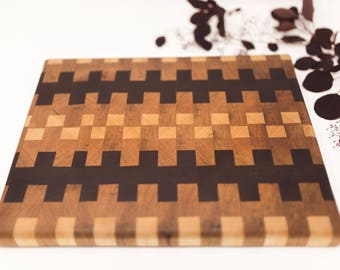 Handmade End Grain Cutting Board Custom Wooden | Black Walnut, Cherry, Maple, Cutting Board, Wedding, Engagement Gift, Kitchen Cutting Board
