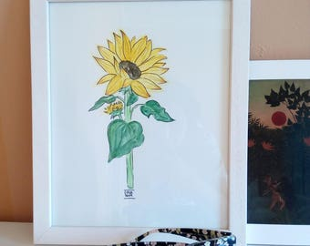 Original Watercolour Sunflower