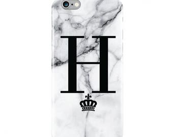 White Marble Crown Personalized Custom Phone Case iPhone 5 5S SE 6 6s Plus 7 7 plus  Samsung Galaxy S6 S7 Edge S8 Plus