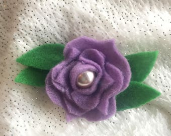 Felt Flower Hair Clip | Felt Floral | Handmade Felt Clip | Little Girl Hair Clip | Baby Hair Accessories | Pearl | Mustard Yellow | Lilac