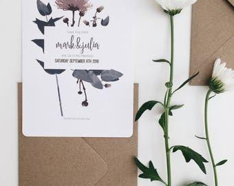 The Garden || Save The Date, Rustic Wedding Invitations, Handmade Wedding Invitation Suite, Romantic Floral Wedding Invite, Blush Floral