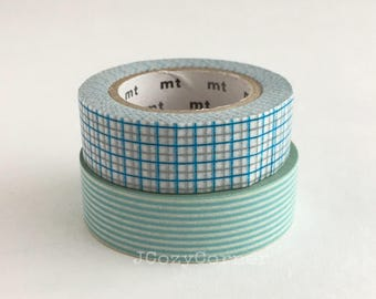 SAMPLE Washi Tape Kamoi MT Grid aqua gray x cyan & Stripe